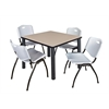 "Kee 36"" Square Breakroom Table- Beige/ Black & 4 'M' Stack Chairs- Grey"
