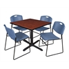 "Cain 36"" Square Breakroom Table- Cherry & 4 Zeng Stack Chairs- Blue"