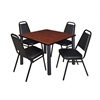 "Kee 36"" Square Breakroom Table- Cherry/ Black & 4 Restaurant Stack Chairs- Black"