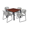 "Kee 36"" Square Breakroom Table- Cherry/ Black & 4 Zeng Stack Chairs- Grey"