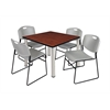 "Kee 36"" Square Breakroom Table- Cherry/ Chrome & 4 Zeng Stack Chairs- Grey"