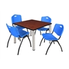 "Kee 36"" Square Breakroom Table- Cherry/ Chrome & 4 'M' Stack Chairs- Blue"
