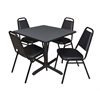 "Cain 36"" Square Breakroom Table- Grey & 4 Restaurant Stack Chairs- Black"