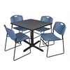 "Cain 36"" Square Breakroom Table- Grey & 4 Zeng Stack Chairs- Blue"