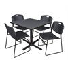 "Cain 36"" Square Breakroom Table- Grey & 4 Zeng Stack Chairs- Black"
