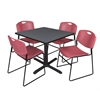 "Cain 36"" Square Breakroom Table- Grey & 4 Zeng Stack Chairs- Burgundy"