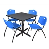 "Cain 36"" Square Breakroom Table- Grey & 4 'M' Stack Chairs- Blue"