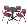 "Cain 36"" Square Breakroom Table- Grey & 4 'M' Stack Chairs- Burgundy"