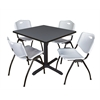 "Cain 36"" Square Breakroom Table- Grey & 4 'M' Stack Chairs- Grey"