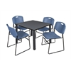 "Kee 36"" Square Breakroom Table- Grey/ Black & 4 Zeng Stack Chairs- Blue"