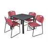 "Kee 36"" Square Breakroom Table- Grey/ Black & 4 Zeng Stack Chairs- Burgundy"