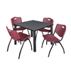 "Kee 36"" Square Breakroom Table- Grey/ Black & 4 'M' Stack Chairs- Burgundy"