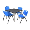 "Kee 36"" Square Breakroom Table- Grey/ Chrome & 4 'M' Stack Chairs- Blue"