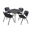 "Kee 36"" Square Breakroom Table- Grey/ Chrome & 4 'M' Stack Chairs- Black"