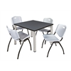 "Kee 36"" Square Breakroom Table- Grey/ Chrome & 4 'M' Stack Chairs- Grey"