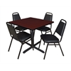 """Cain 36"""" Square Breakroom Table- Mahogany & 4 Restaurant Stack Chairs- Black"""