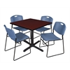 "Cain 36"" Square Breakroom Table- Mahogany & 4 Zeng Stack Chairs- Blue"