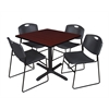"Cain 36"" Square Breakroom Table- Mahogany & 4 Zeng Stack Chairs- Black"