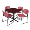 "Cain 36"" Square Breakroom Table- Mahogany & 4 Zeng Stack Chairs- Burgundy"