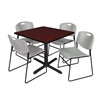 "Cain 36"" Square Breakroom Table- Mahogany & 4 Zeng Stack Chairs- Grey"