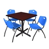 "Cain 36"" Square Breakroom Table- Mahogany & 4 'M' Stack Chairs- Blue"