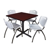 "Cain 36"" Square Breakroom Table- Mahogany & 4 'M' Stack Chairs- Grey"