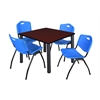 "Kee 36"" Square Breakroom Table- Mahogany/ Black & 4 'M' Stack Chairs- Blue"