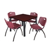 "Kee 36"" Square Breakroom Table- Mahogany/ Black & 4 'M' Stack Chairs- Burgundy"