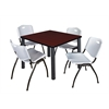 """Kee 36"""" Square Breakroom Table- Mahogany/ Black & 4 'M' Stack Chairs- Grey"""