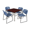"Kee 36"" Square Breakroom Table- Mahogany/ Chrome & 4 Zeng Stack Chairs- Blue"