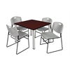 "Kee 36"" Square Breakroom Table- Mahogany/ Chrome & 4 Zeng Stack Chairs- Grey"