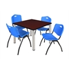 """Kee 36"""" Square Breakroom Table- Mahogany/ Chrome & 4 'M' Stack Chairs- Blue"""