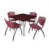 "Kee 36"" Square Breakroom Table- Mahogany/ Chrome & 4 'M' Stack Chairs- Burgundy"