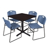 "Cain 36"" Square Breakroom Table- Mocha Walnut & 4 Zeng Stack Chairs- Blue"