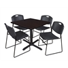 "Cain 36"" Square Breakroom Table- Mocha Walnut & 4 Zeng Stack Chairs- Black"