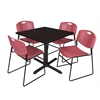 "Cain 36"" Square Breakroom Table- Mocha Walnut & 4 Zeng Stack Chairs- Burgundy"