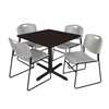 "Cain 36"" Square Breakroom Table- Mocha Walnut & 4 Zeng Stack Chairs- Grey"