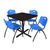 "Cain 36"" Square Breakroom Table- Mocha Walnut & 4 'M' Stack Chairs- Blue"