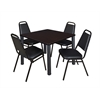 "Kee 36"" Square Breakroom Table- Mocha Walnut/ Black & 4 Restaurant Stack Chairs- Black"