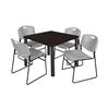 "Kee 36"" Square Breakroom Table- Mocha Walnut/ Black & 4 Zeng Stack Chairs- Grey"
