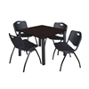 "Kee 36"" Square Breakroom Table- Mocha Walnut/ Black & 4 'M' Stack Chairs- Black"