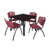 "Kee 36"" Square Breakroom Table- Mocha Walnut/ Black & 4 'M' Stack Chairs- Burgundy"