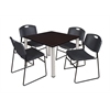 "Kee 36"" Square Breakroom Table- Mocha Walnut/ Chrome & 4 Zeng Stack Chairs- Black"