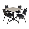"Cain 36"" Square Breakroom Table- Maple & 4 Restaurant Stack Chairs- Black"