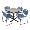 """Cain 36"""" Square Breakroom Table- Maple & 4 Zeng Stack Chairs- Blue"""