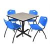 "Cain 36"" Square Breakroom Table- Maple & 4 'M' Stack Chairs- Blue"