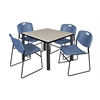 """Kee 36"""" Square Breakroom Table- Maple/ Black & 4 Zeng Stack Chairs- Blue"""