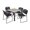"Kee 36"" Square Breakroom Table- Maple/ Black & 4 Zeng Stack Chairs- Black"