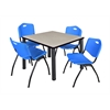 "Kee 36"" Square Breakroom Table- Maple/ Black & 4 'M' Stack Chairs- Blue"