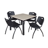 "Kee 36"" Square Breakroom Table- Maple/ Black & 4 'M' Stack Chairs- Black"